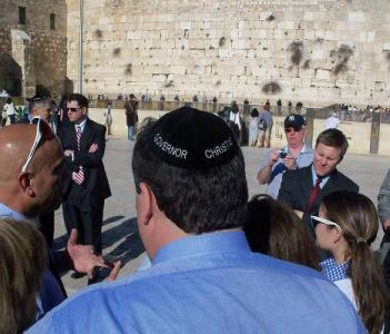 Governor Christie wearing the personalized Kippah made for him on his visit to the Western Wall