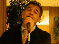 Chaim Kiss Singing at the Seder.