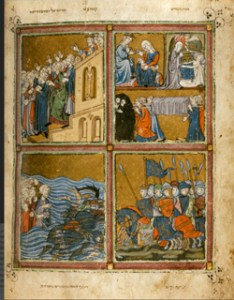 "Golden Haggadah, fol. 15r, (ca.1320-1330) illuminated manuscript, London, British Library. Courtesy ""The Medieval Haggadah"" by Marc Michael Epstein. Yale University Press, 2011"