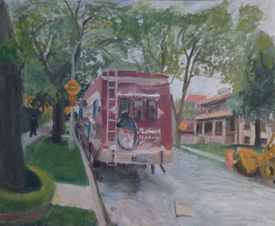 Mitzvah Tank (2011), oil on Masonite by Robert Feinland. Courtesy Chassidic Art Institute