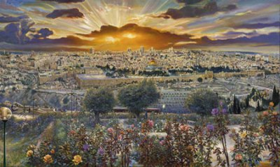 Ruth Mayer's painting of Jerusalem.   Credit: RuthMayer.com