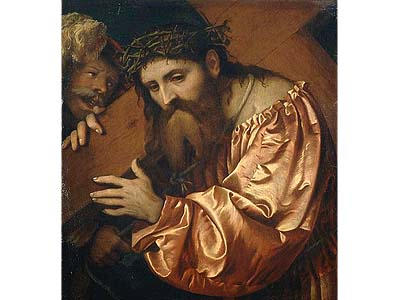 """Jesus Carrying the Cross Dragged by a Rogue,"" by Girolamo Romano will be returned to its Jewish owners."