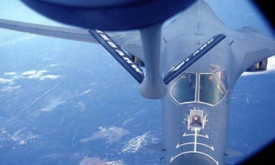 "U.S. Air Force B-1B Lancer aircraft prepares to refuel from a KC-135R Stratotanker aircraft. The new House legislation provides Israel with ""air refueling tankers, missile defense capabilities, and specialized munitions."""