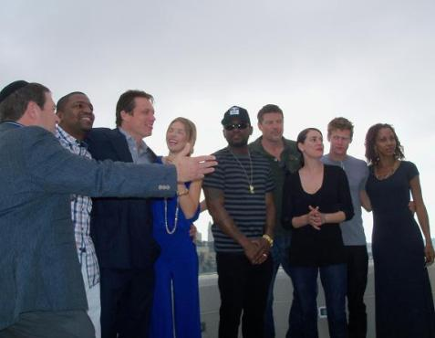 America's Voices in Israel May mission to Israel in a group shot in Jerusalem. Left: Rabbi Irwin Katsof, Mekhi Pfifer, Holt McCallany, AnnaLynne McCord, Omar Epps, Paul Johansson, Paget Brewster, Zach Roerig, and Holly Robinson Peete.