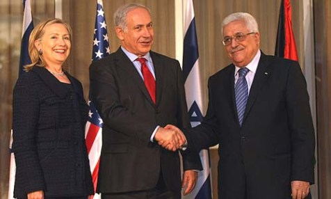 Secretary of State Hillary Clinton, Prime Minister Benjamin Netanyahu, and Palestinian Authority President Mahmoud Abbas in Jerusalem, Sept. 2010. New report calls [peace talks fraudulent.