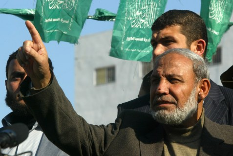 Hamas leader Mahmoud Zahar attends a demonstration in Khan Yunis southern Gaza