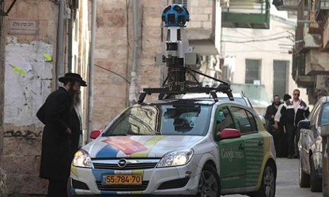 "Google's ""Street View"" car driving through the neighborhood of Mea Shearim in Jerusalem."