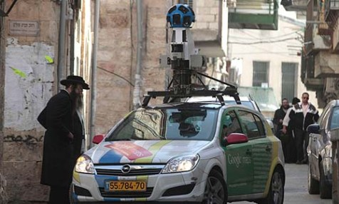 Google&#039;s &quot;Street View&quot; car driving through the neighborhood of Mea Shearim in Jerusalem.