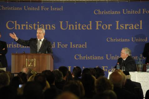 Prime minister Benjamin Netanyahu speaking before the Christians United for Israel (CUFI) organization.
