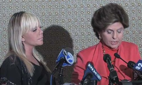 Lauren Odes with her celebrity lawyer Gloria Allred at Monday's press conference.