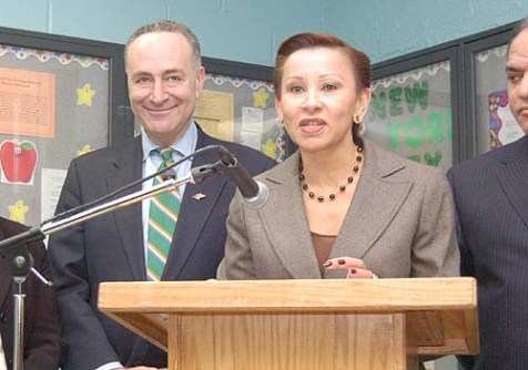 Senator Charles Schumer and Congresswoman Nydia Velázquez at a joint public event on the Lower East Side.