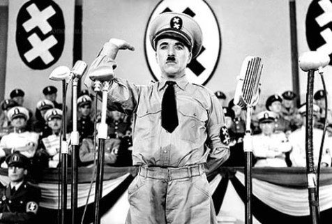 "Chaplin as ""The Great Dictator"""