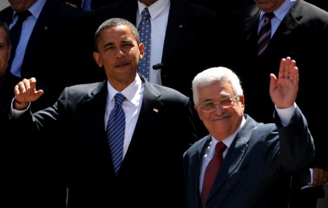 US President Barack Obama meeting with Palestinian President Mahmoud Abbas.