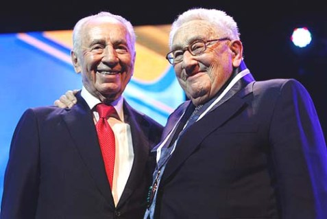 President Shimon Peres (L) with former U.S. Secretary of State Henry Kissinger at the Israeli Presidential Conference in Jerusalem.