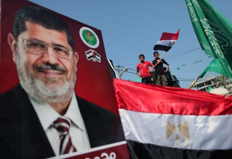 Supporters of Mohammed Morsi celebrate in Gaza.