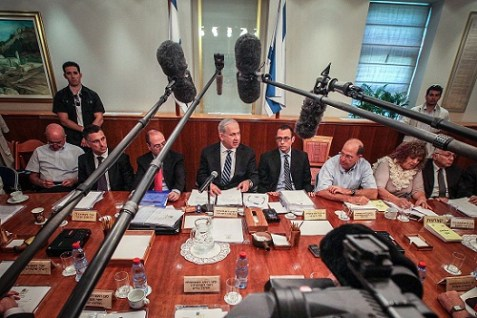 Prime minister Netanyahu at Cabinet meeting.