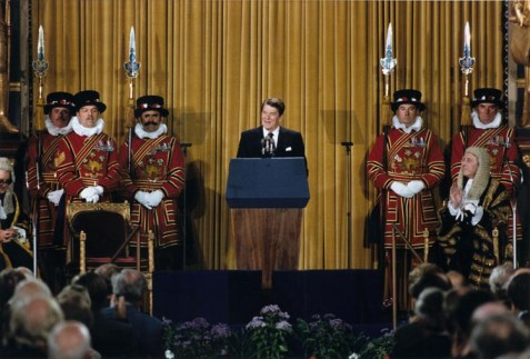 President Reagan addressing British Parliament