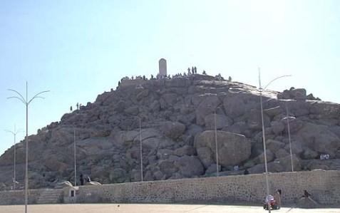Muslim pilgrims at the Hill of Forgiveness, Mt. Arafat, on the 9th of Av.