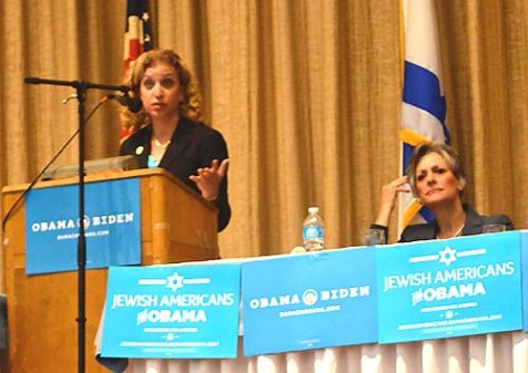 Democratic National Committee Chair Debbie Wasserman Schultz (L) at the Elkins Park, Pennsylvania event. Seated on the right is Congresswoman Allyson Schwartz (D-PA).