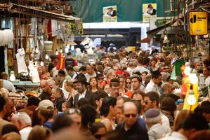 Israelis shop for food at the Mahane Yehuda market in Jerusalem.