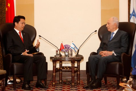 Shimon Peres meeting with a Chinese official