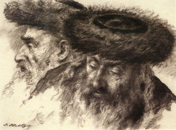 Chassidim (1963), Charcoal on paper by Itshak Holtz. 