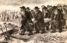 The Funeral (1966), Charcoal on paper by Itshak Holtz.