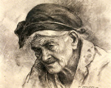 Reminiscing (1972), Charcoal on paper by Itshak Holtz.