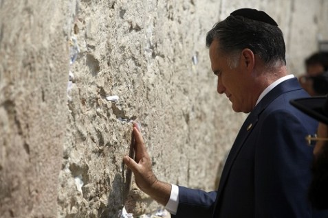 Republican Presidential candidate Mitt Romney visits the Western Wall on Tisha B'Av