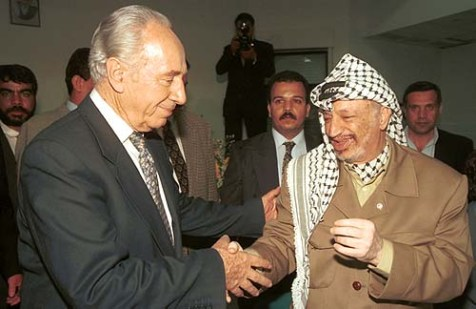 Israel&#039;s president Shimon Peres with a friend.