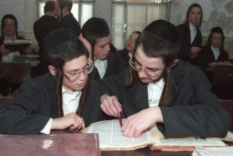 Ultra orthodox Jewish boys study the Talmud