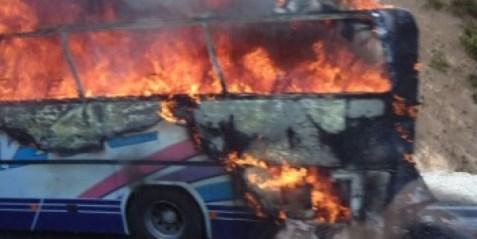 bulgaria burning bus