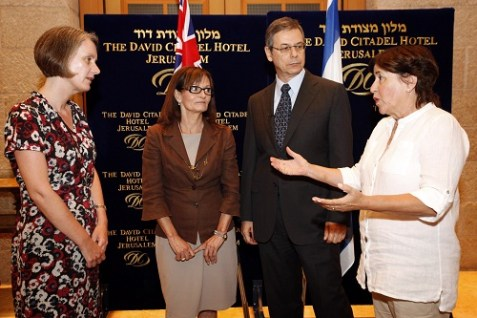 Elana Romano (second from left) and Anki Spitzer (far right), widows of Israeli athletes who were murdered at the 1972 Munich Olympic Games meeting with Andrea Faulkner, Australian ambassador to Israel, and Israeli deputy foreign minister Danny Ayalon.