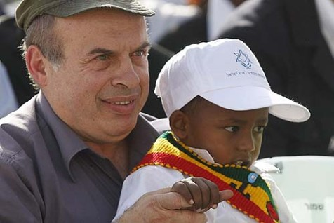 Jewish Agency Chairman Natan Sharansky with a friend.