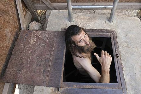 A Jewish man emerging from the mikvah in the village of Yishuv Ha&#039;Da&#039;at near Shilo, in Samaria.