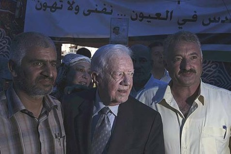 Former President Jimmy Carter visits the Arab neighborhood of Silwan in East Jerusalem.
