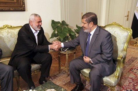 Egyptian president Mohammed Morsi, right, with Hamas prime minister Ismail Haniyeh in Cairo.