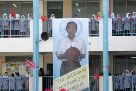 A large banner depicting UN secretary General Ban Ki Moon hangs outside the UNRWA school in Gaza, welcoming the secretary general on February 02, 2012.
