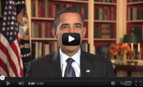 Screenshot of Obama's Weekly You Tube Address