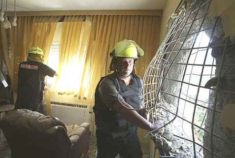 A Kiryat Shmona apartment minutes after a Hizbollah rocket attack, August 11, 2006.