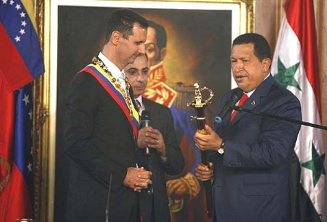 "Two sponsors of the ""Right to Peace"" resolution, Bashar al-Assad and Hugo Chavez."