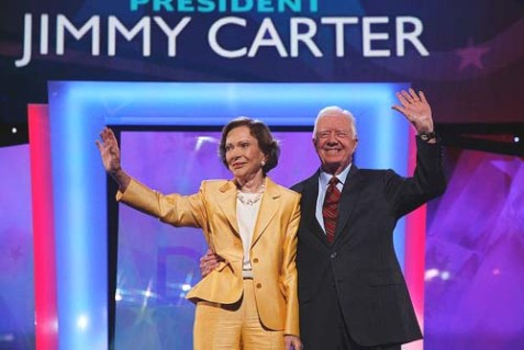 President Jimmy Carter (seen here with wife Rosalynn), one of America's most outspoken critics of Israel, spoke at the DNC convention Tuesday night. Featuring Carter as a major speaker signaled a shift in the Party's view of Israel, which can bee seen in changes in its platform.