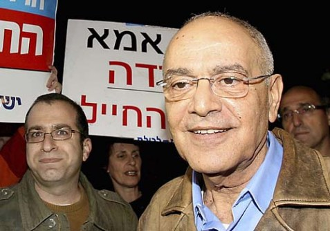 Former IDF Chief of Staff Lt. Gen. Dan Halutz at a rally in Tel Aviv last January.