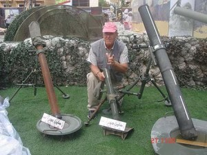 Franklin Lamb with Hezbollah mortars in Lebanon.
