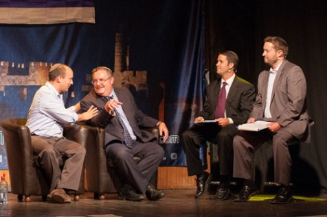 Ari Abramowitz (far right) and Jeremy Gimpel (to the left of Abramowitz), candidates for the Jewish Home party's Knesset list, host Naftali Bennett (extreme left) and Minister of Science Daniel Hershkowitz, who are competing for the leadership of the party.