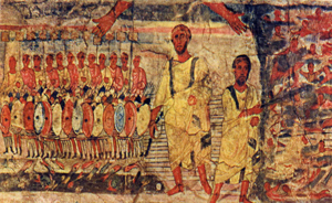Moses at the Red Sea (detail) (ca. 235) fresco at Dura Europos Synagogue