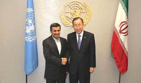 Mahmoud Ahmadinejad meets with UN Secretary General Ban Ki-moon in New York.