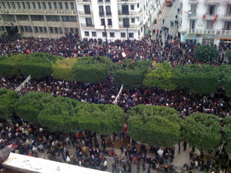 Protesters march on Avenue Habib Bourguiba in downtown Tunis on January 14, 2011. After the revolution, the Islamist party Al Nahda (or Ennahda) won 40% of the Constituent Assembly.