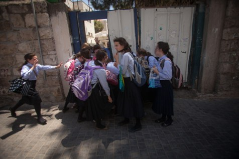 Girls being let out of school in Mea Shearim, Jerusalem, July 1, 2012.