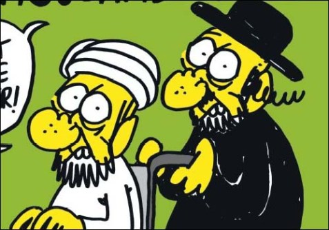 "Muslim and Jewish guys in this French cartoon say: ""You must not mock us!"""